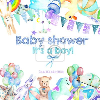 Karte vorlage, rahmen grenze mit baby-dusche aquarell-elemente ...