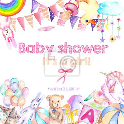Karte vorlage, rahmen grenze mit baby dusche aquarell elemente ...