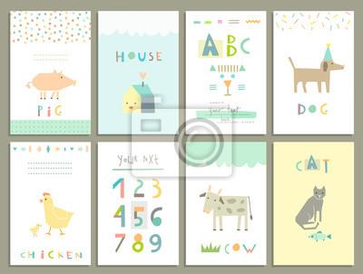 Karten für Kinder. Nutztiere. Lernen Sie zu lesen und zu zählen