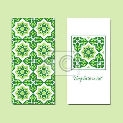 Fototapete Karten Oder Einladungen Sammlung Mit Grünen Fliesen Ornament,  Geometrische Muster. Ornamental Dekorative Design