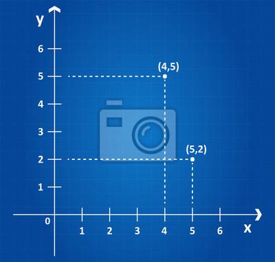 Kartesischen koordinatensystem auf blaupause flugzeug fototapete ...