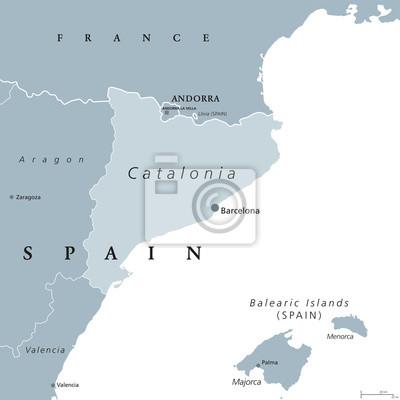 Spanien Katalonien Karte.Fototapete Katalonien Politische Karte Mit Hauptstadt Barcelona Und Grenzen