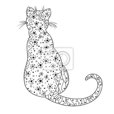 Fototapete Katze Design Zentangle Hand Gezeichnetes Tier Mit Abstrakten