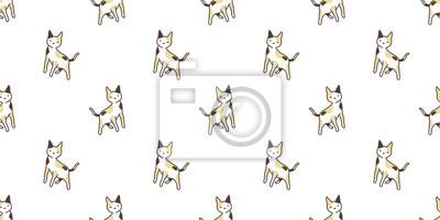 Fototapete Katze Kaliko nahtlose Muster Vektor isoliert Hintergrund wiederholen Tapete Cartoon