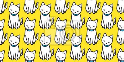Fototapete Katze nahtlose Muster Vektor Kätzchen Halloween isoliert Hintergrund wiederholen Tapete Cartoon Doodle