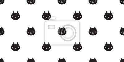 Fototapete Katze nahtlose Muster Vektor Kätzchen Kaliko Halloween isoliert Tapete Cartoon