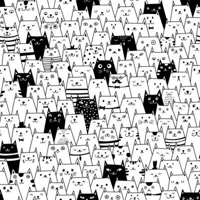 Fototapete Katzen nahtlose Vektor-Muster