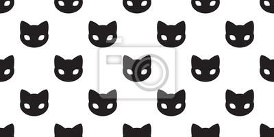 Fototapete Katzen-Tatze der Katze nahtlose Muster Gekritzelvektor-Tapetenhintergrund