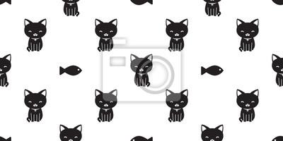 Fototapete Katzen-Vektorfische der Katze nahtlose Musterschwarzes lokalisierte Tapetenhintergrundweiß