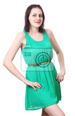 Kaukasische Mädchen 18 Jahre In Kurzen Grünen Kleid Fototapete