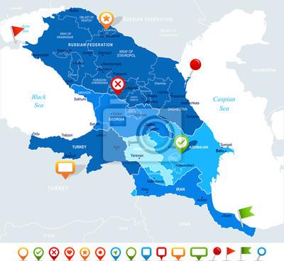 Region S Karte.Fototapete Kaukasus Regions Karte Vektor Illustration