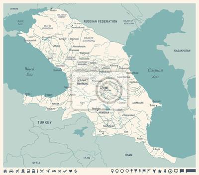 Region S Karte.Fototapete Kaukasus Regions Karte Weinlese Vektor Illustration