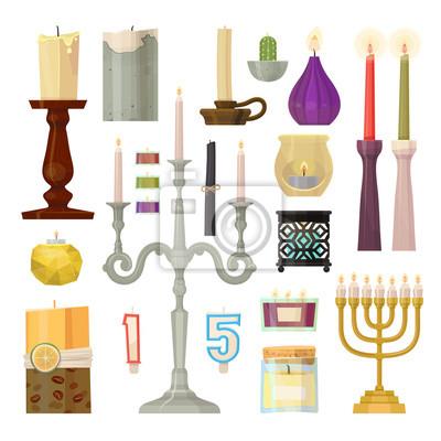 Kerze verschiedene Formen Kerzenlicht Flamme dekorative Wachskerzen Set Cartoon Weihnachten oder Urlaub Dekoration Vektor-Illustration.