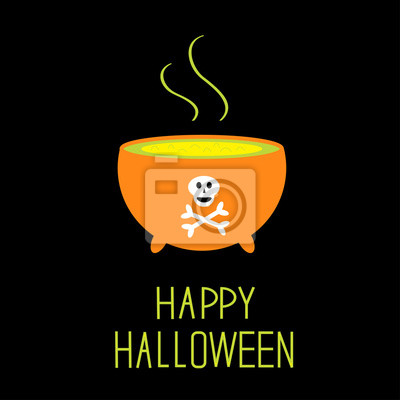 Kessel mit grünen Trank. Happy Halloween-Karte.