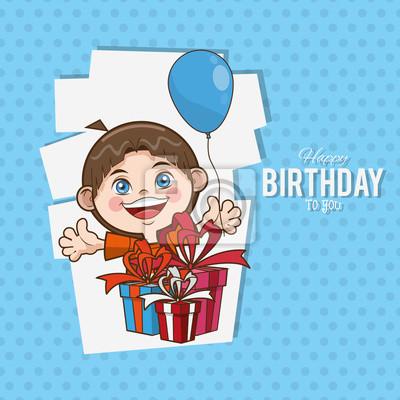 Fototapete Kid Happy Birthday Card Cartoon Icon Vector Illustration Graphic Design