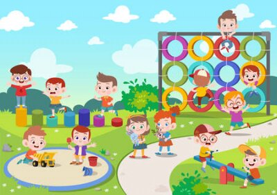 Fototapete kids children playing playground vector illustration