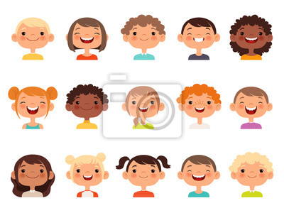 Fototapete Kids faces. Child expression faces little boys and girls cartoon avatars vector collection. Girl and boy avatar, young teenager female and male illustration