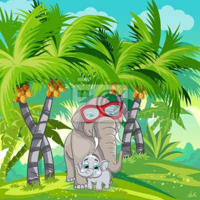 Kind Illustration des Dschungels mit einer Familie von Elefanten.