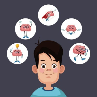 Kind Silhouette mit Gehirn Cartoon-Symbol Vektor-Illustration Grafik-Design