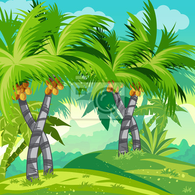 Kindabbildung Dschungel mit Kokospalmen.