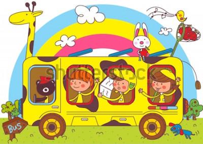 Fototapete Kinder auf Schulbusfahrten