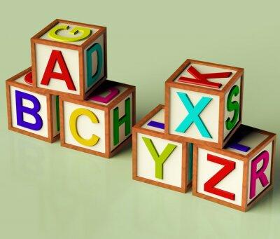 Fototapete Kinder-Blöcke mit ABC und XYX als Symbol für Bildung und Learnin