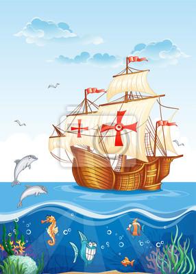Kinder-Darstellung der Unterwasserwelt mit einem Segelschiff