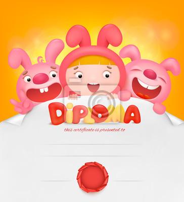 Kinder-diplom-zertifikat-vorlage mit hasenmädchen und zwei rosa ...