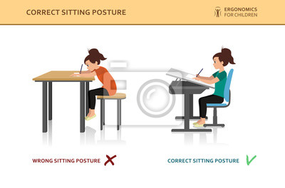 Kinder Ergonomisch Falsche Und Korrekte Sitzhaltung Eines Kindes