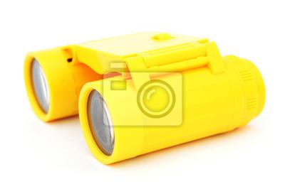 Kinder gelben kunststoff fernglas auf weißem hintergrund