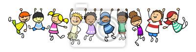 Fototapete Kinder hängen als Rahmen in einer Linie