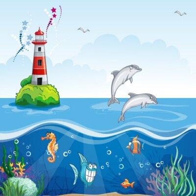 Kinder-Illustration der Leuchtturm und das Meer Delfine.