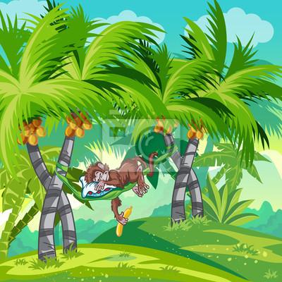 Kinder-Illustration des Dschungels mit einem schlafenden Affen.