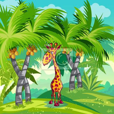 Kinder-Illustration des Dschungels mit einer Giraffe.
