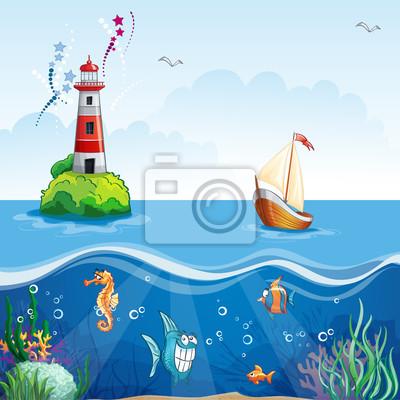 Kinder-Illustration mit Leuchtturm und Segelboot.