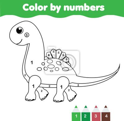 Kinder lernspiel. malvorlage mit niedlichen dinosaurier. farbe ...