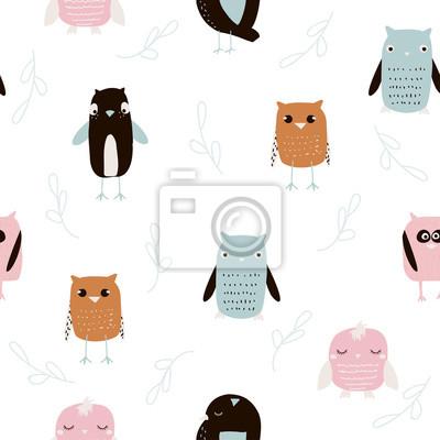 Fototapete Kinder nahtlose Muster mit lustigen Eulen. Gezeichnete Illustration des Vektors Hand.