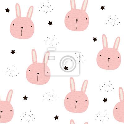 Fototapete Kinder nahtlose Muster mit rosa Hasen. Gezeichnete Illustration des Vektors Hand.