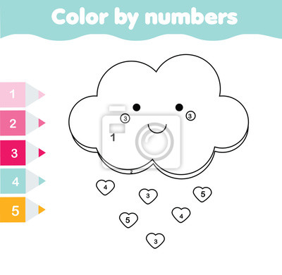Kinder pädagogisches spiel. malvorlage mit niedlicher wolke farbe ...