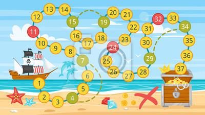 Kinder Piraten Brettspiel Vorlage Fototapete Fototapeten Weiß Web