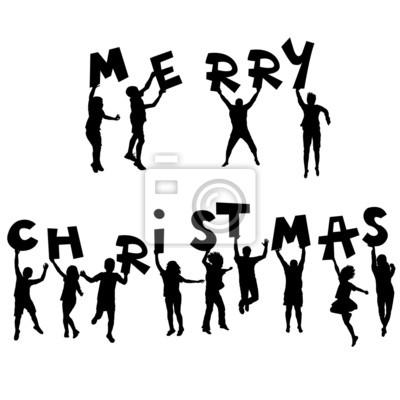 Kinder-silhouetten mit merry christmas nachricht fototapete ...