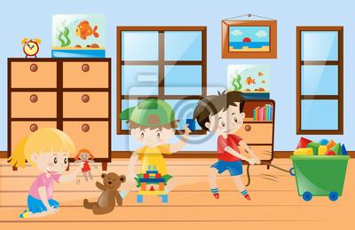 Fototapete: Kinder spielen spielzeug im zimmer