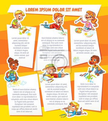 Kinder Zeichnen Auf Papier Vorlage Für Werbebroschüre Fototapete