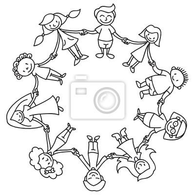 Kinderkreis, ausmalbild fototapete • fototapeten grenzenlos ...