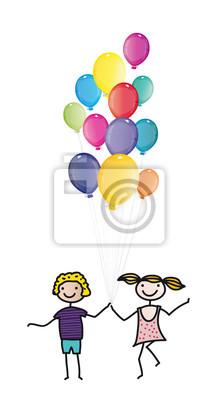 Fototapete Kindertag, Einladung Zum Kindergeburtstag   Fröhliche Kinder Mit  Vielen Bunten Luftballons