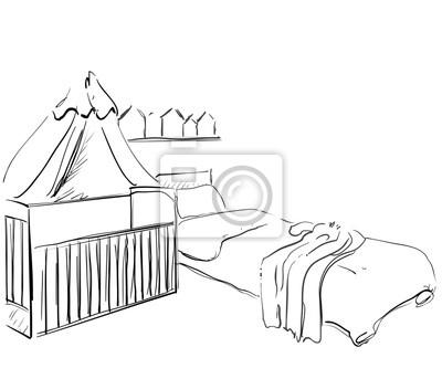 Kinderzimmer Mobel | Kinderzimmer Mobel Skizze Babybett Fototapete Fototapeten