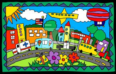 Kindliche Zeichnung-geschäftige Stadt