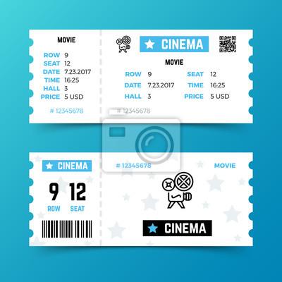 Kino eintrittskarte vektor vorlage in modernen minimalistischen ...