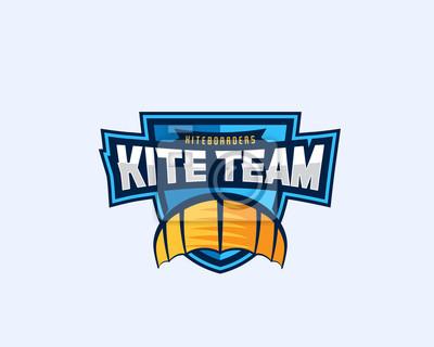 Kiteboarding team sport emblem. drachen-symbol auf einem schild ...