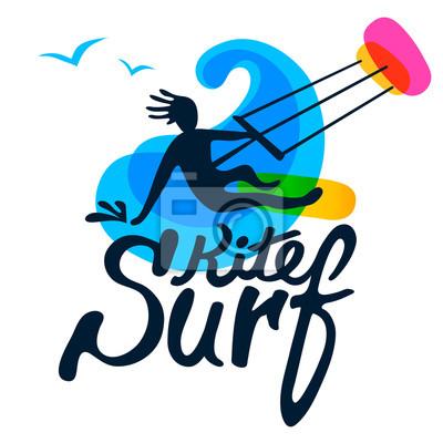 Kitesurfer auf surfbrett mit kite, welle und möwe auf weißem ...